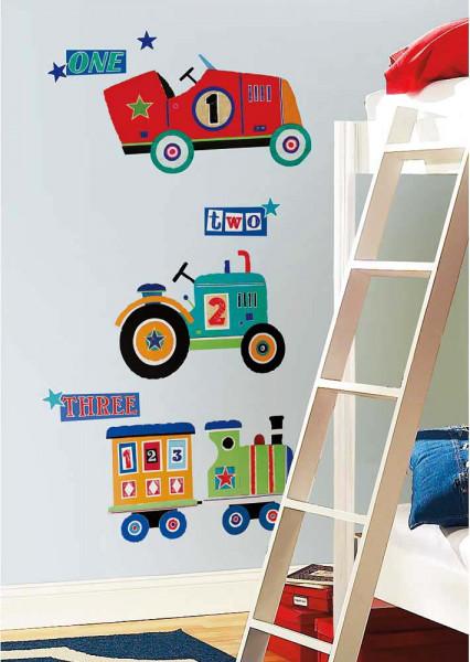 Wandsticker Traktor Lokomotive Auto Kinderzimmer