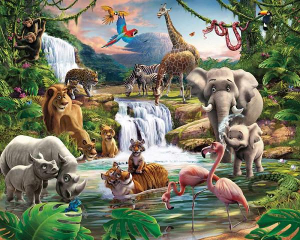 Walltastic Fototapete Dschungel Tiere Afrika