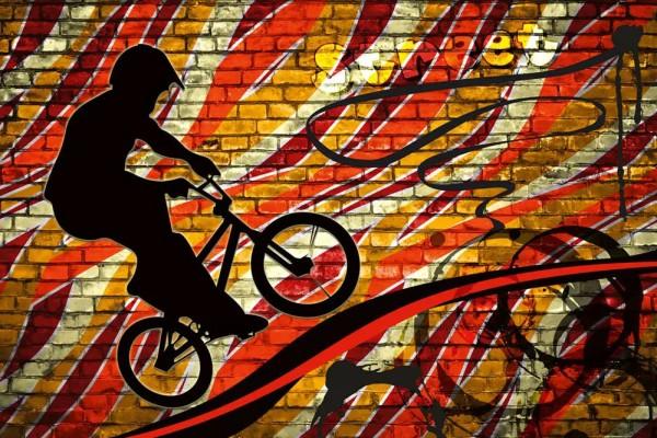 Vliestapete Bicycle Street Art Red 375x250