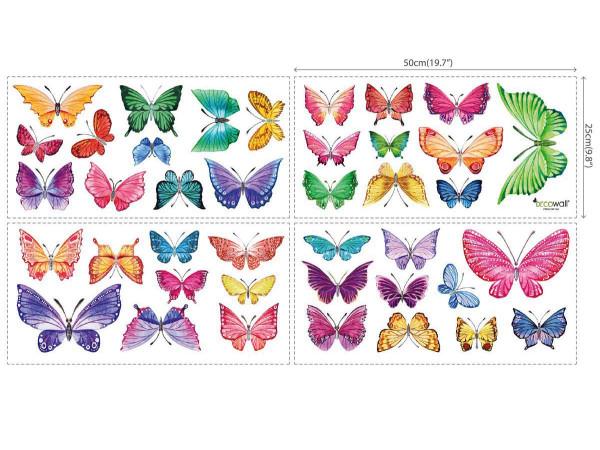 Wandsticker Schmetterlinge Aquarell 4 Blatt