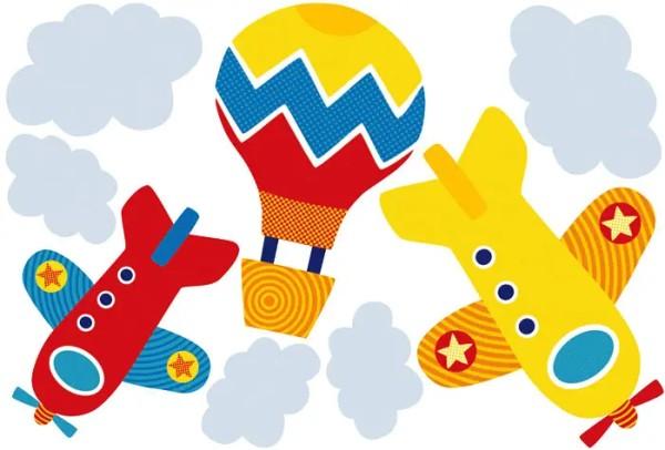 Wandtattoo Himmelsstürmer Flugzeuge Heißluftballons