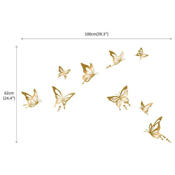 Wandtattoo moderne Schmetterlinge in gold Maße