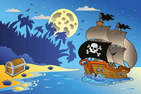 Vliestapete Piratenschiff 375x250