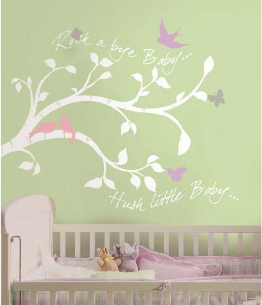 Wandsticker Rock-a-Bye-Baby Zweige Babyzimmer