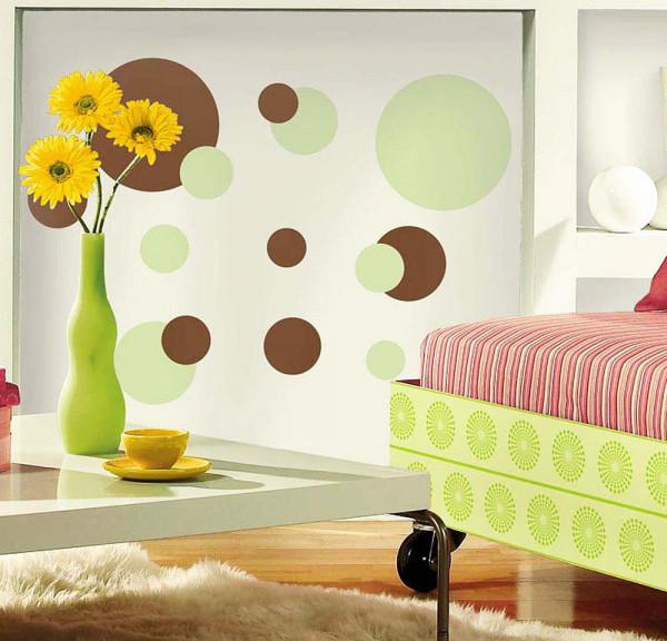 Wandsticker Grün Braune Punkte Wohnzimmer