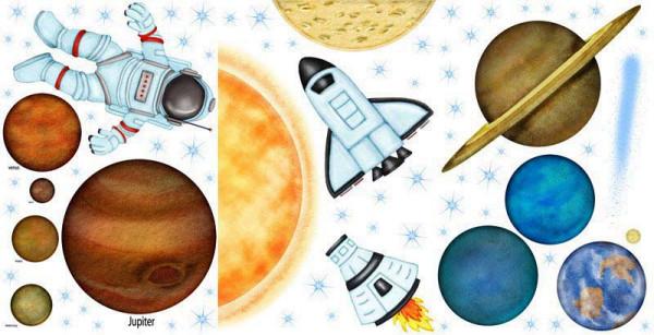 Eck-Wandsticker Weltall Planeten