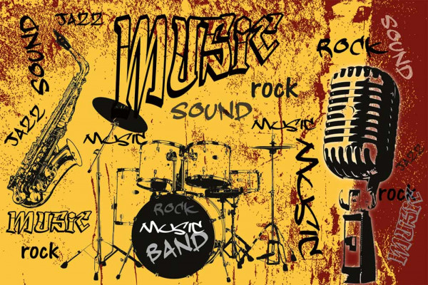 Vliestapete Rock Music Band Orange 375x250