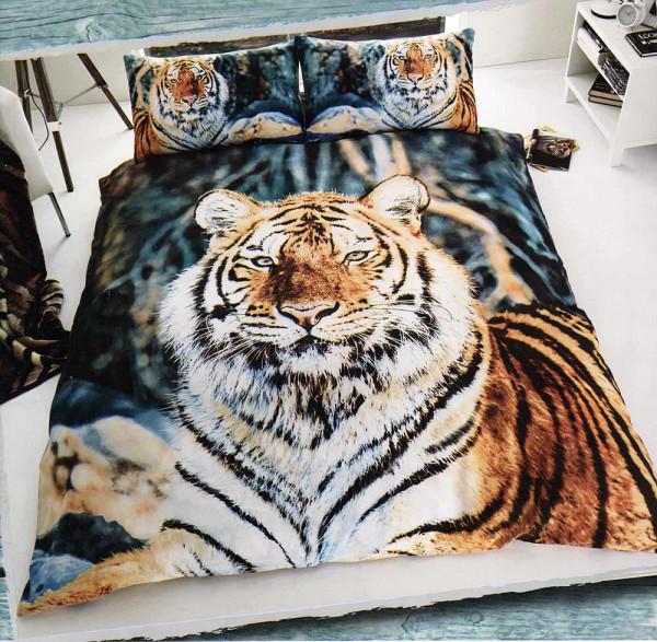 Bettwäsche Tiger im Schnee 3D