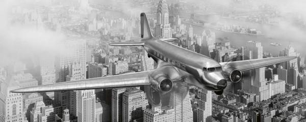 Panorama Vliestapete Flugzeug über New York 375x150