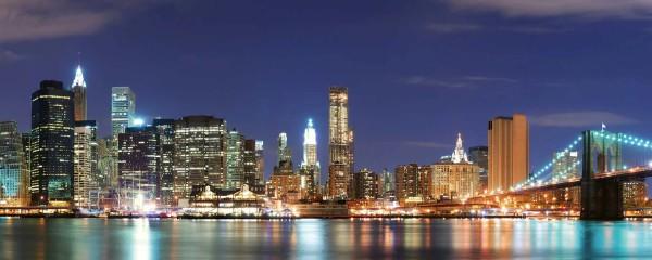 Panorama Vliestapete Manhattan Night 375x150