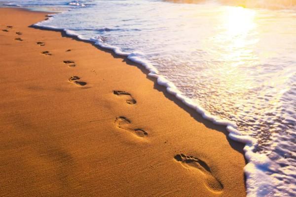 Vliestapete Spuren im Sand 375x250