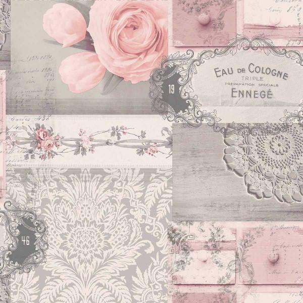 Tapete Decoupage Rose rosa