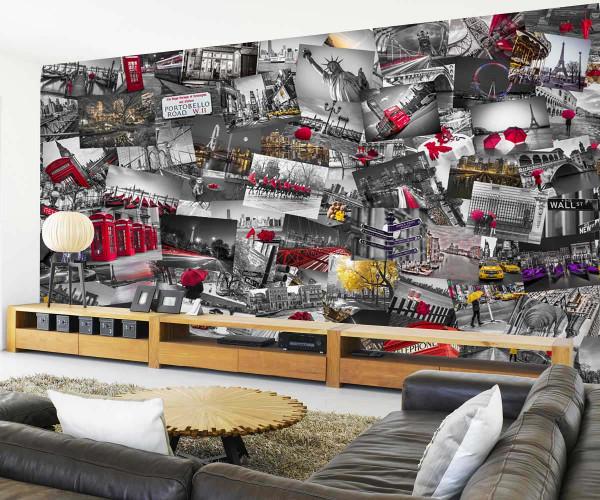 Kreative Collage City Großstadt Flair Designer Tapete Wohnzimmer