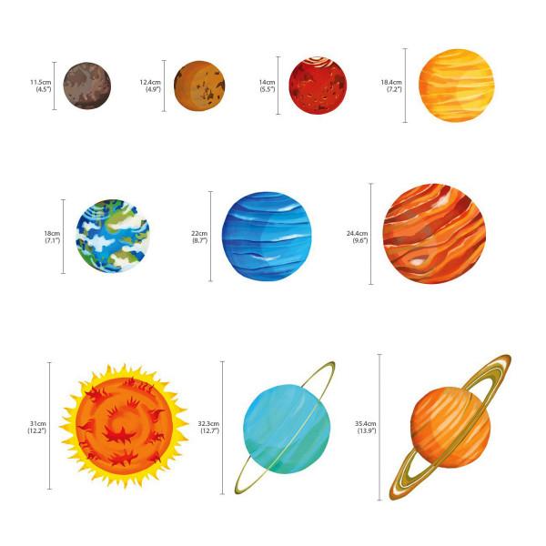 Wandsticker Planeten Sonnensystem Weltraum Maße