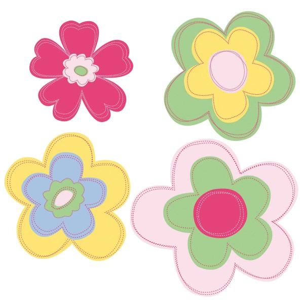 Wandsticker Retro Pastellblüten