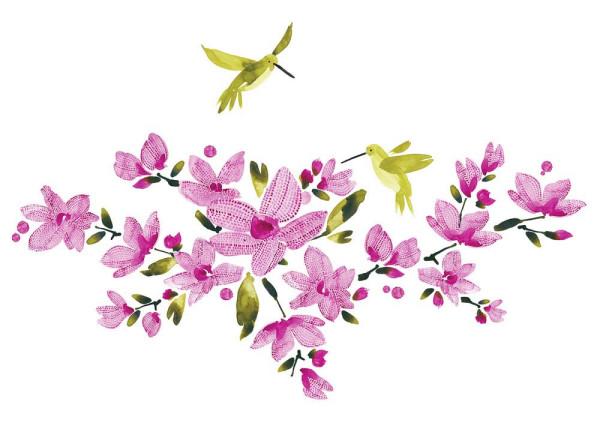 Wandsticker Kolibri Blüten Weinranken