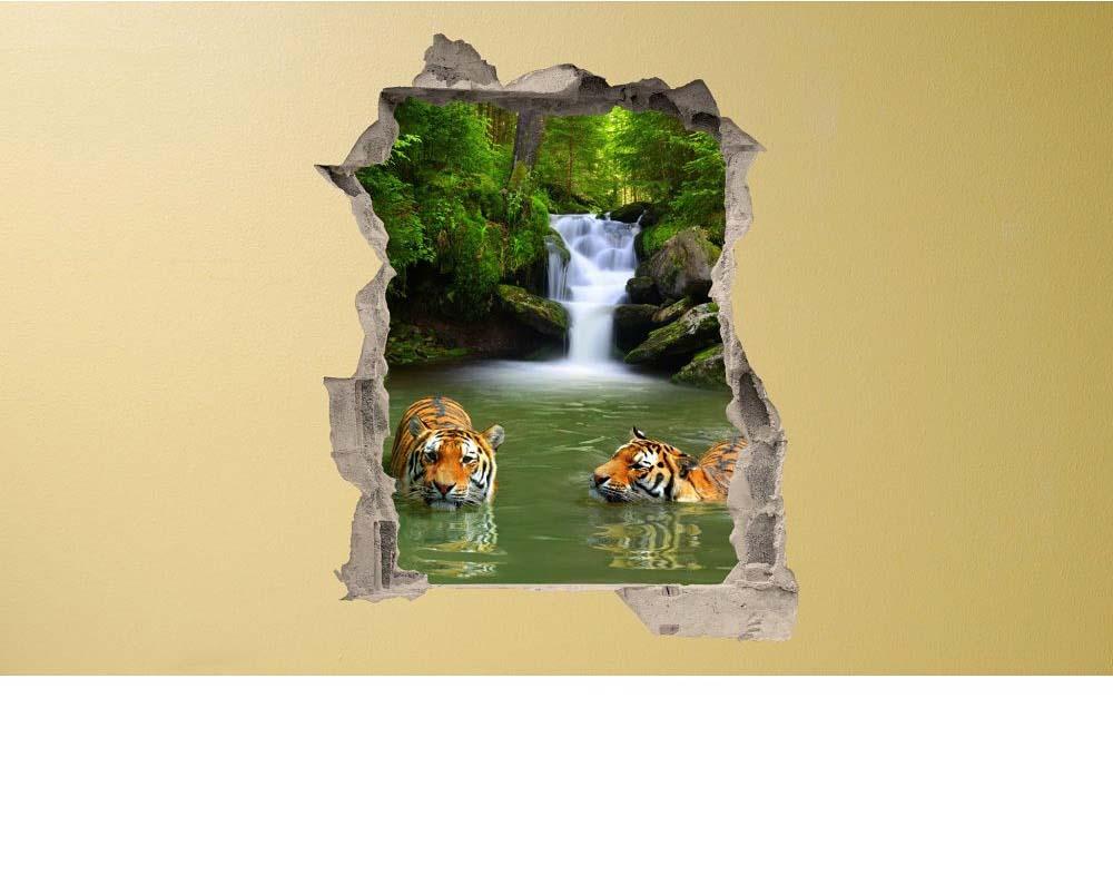wandsticker  optik tiger breakthrough tapetenwelt