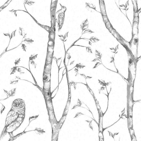Tapete selbstklebend Waldtiere grau