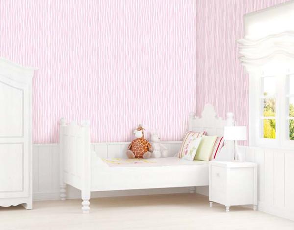 Selbstklebende Tapete Wellen Seideneffekt pink Kinderzimmer