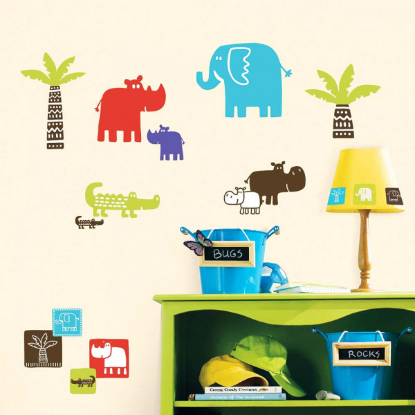 Wandsticker Afrika Safari Quadrate Kinderzimmer