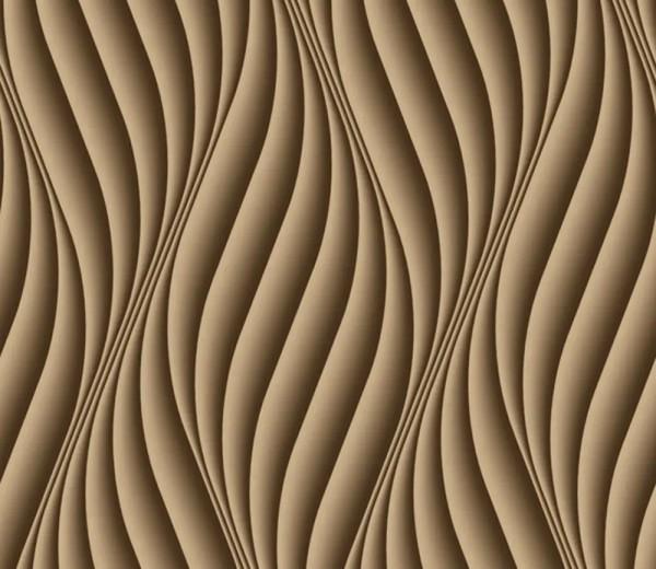Vliestapete 3D-Optik Wellen vertikal braun