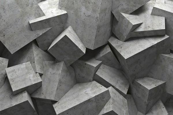 Vliestapete Beton Würfel 375x250