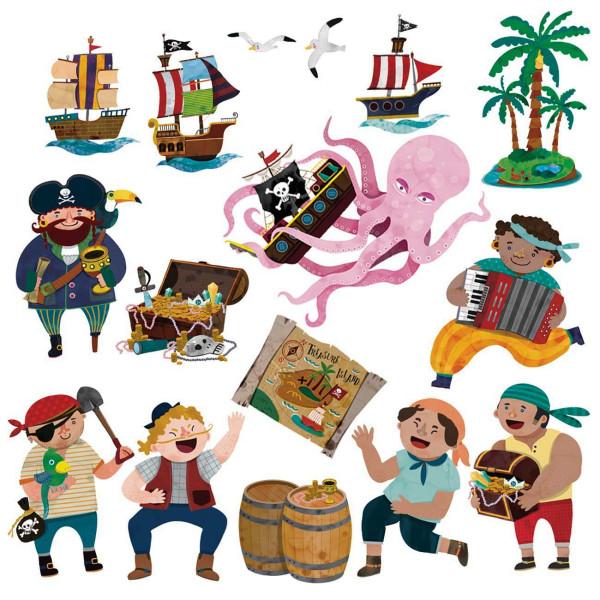 Wandsticker Piraten Schatzinsel klein