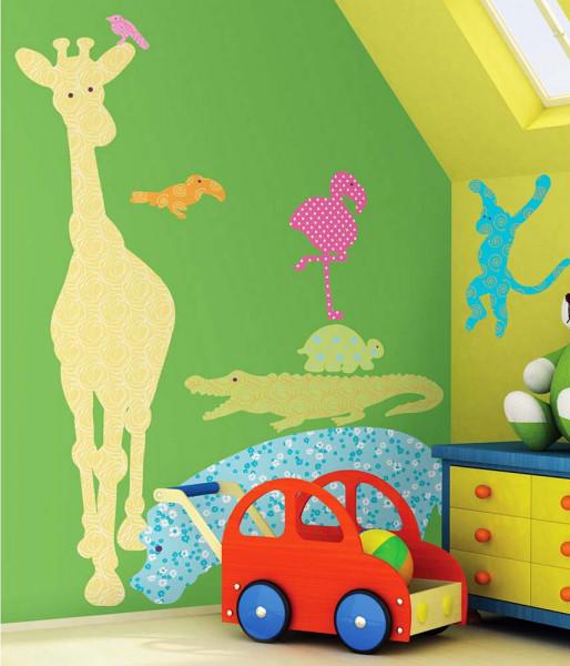 Wandtattoo Safari bunt Kinderzimmer