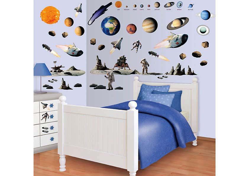 Wandsticker planeten weltall mondlandung tapetenwelt for Wandsticker jugendzimmer