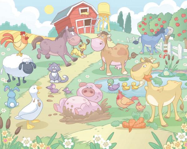 Fototapete Babyzimmer Spaß auf dem Bauernhof