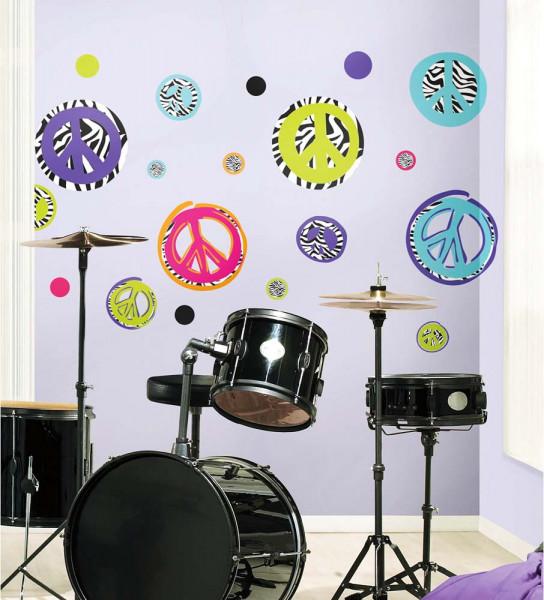 Wandtattoo Zebra Peace Zeichen Jugendzimmer