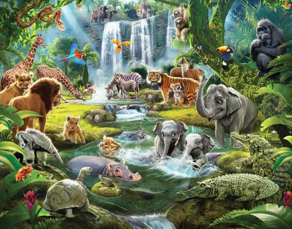 Walltastic Fototapete Dschungeltiere Safari