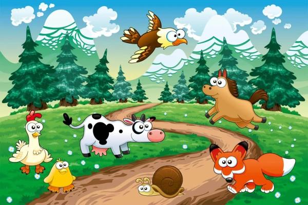 Vliestapete Tiere des Waldes 375x250