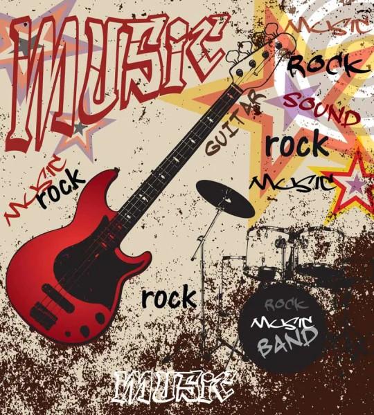 Vliestapete Red Guitar Rock 225x250