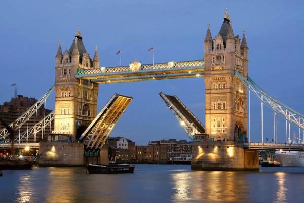Vliestapete Tower Bridge beleuchtet 375x250
