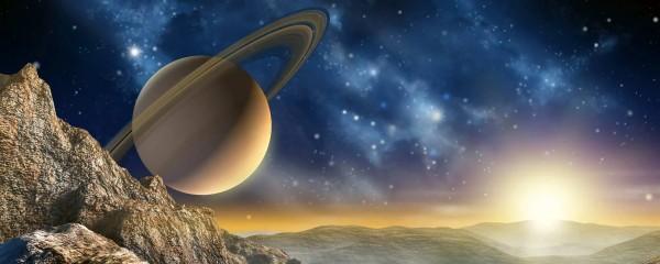 Panorama Vliestapete Saturn mit Ringen 375x150