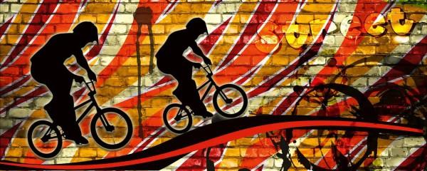 Panorama Vliestapete Bicycle Street Art Red 375x150