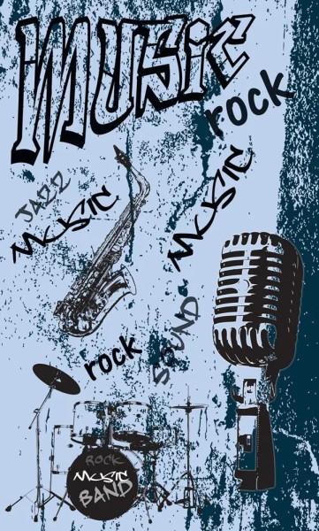 Vlies Fototapete Rock Music Band Blau 150x250