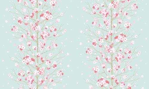 Tapete Blumenstaude Seideneffekt blau
