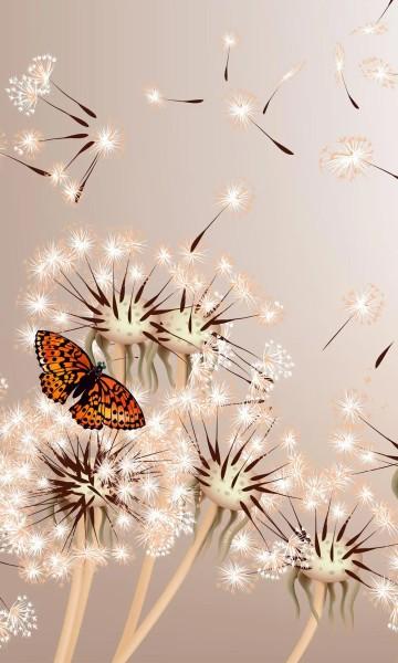 Vlies Fototapete Pusteblume und Schmetterling 150x250