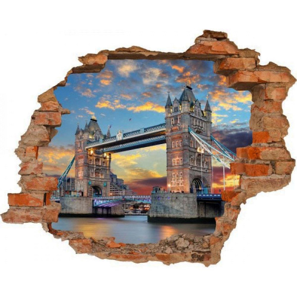 Wandsticker 3D-Optik Tower Bridge London Breakthrough