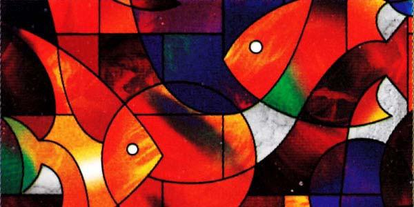 Fensterfolie selbstklebend Mosaik Farbe Fische
