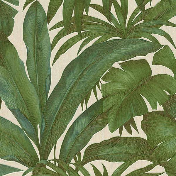 Vliestapete Giungla Palmwedel Versace grün