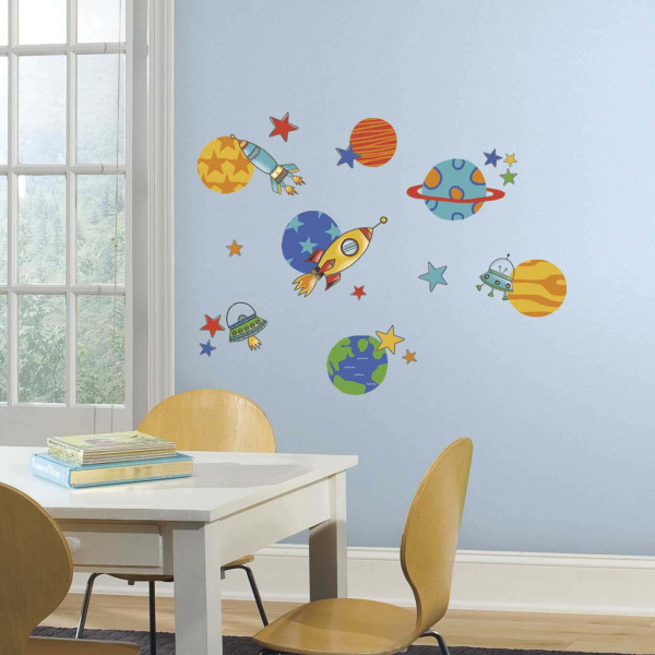 Wandsticker Planeten Raketen Kinderzimmer