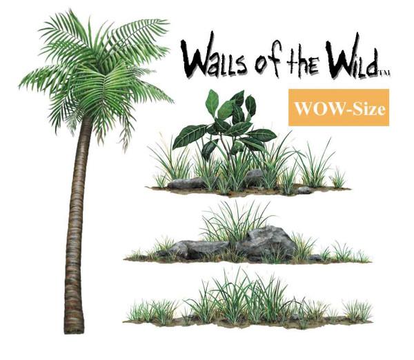 Wandsticker Dschungelpflanzen Set WOW Größe
