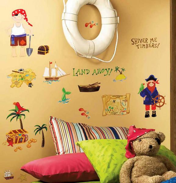 Wandsticker Piraten Schatzsuche Kinderzimmer