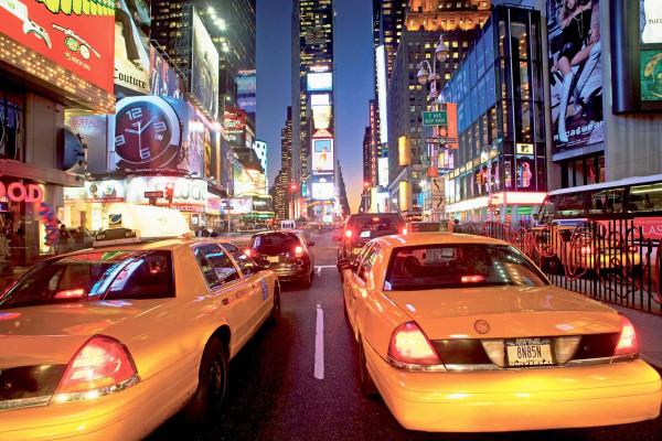 Fototapete Wandbild New York Taxi Times Square