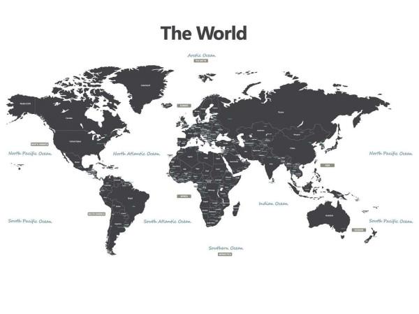 Wandsticker Weltkarte grau klein