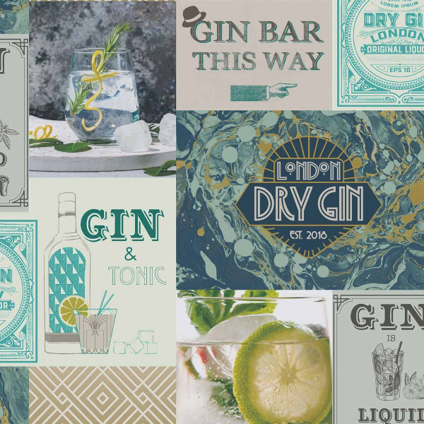 Tapete Gin Fizz Cocktail blaugrün