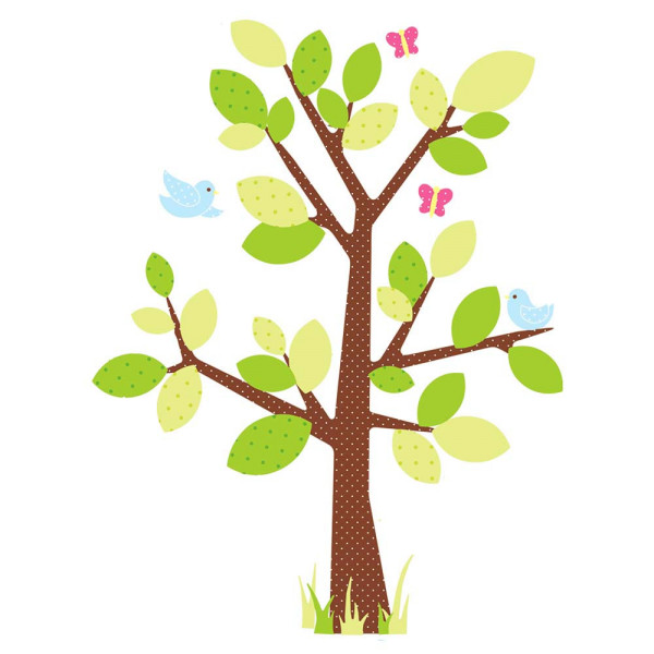 Wandsticker Punktebaum Vögel